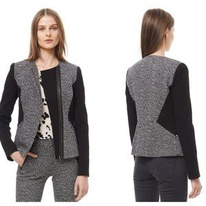 REBECCA TAYLOR Wool Gray Tweed & Twill Blazer